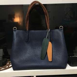 Navy (PRICE DROP!) Blue Leather Bag 3-in-1 (Practically Brand New)