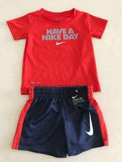 "New w Tag 100% Authentic NIKE ""Have a Nike Day"" Dri-Fit Red and Matching Shorts 2 piece Size 12m [Not Adidas, Converse]"