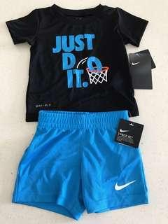 "Brand New w Tag 100% Authentic NIKE ""JUST DO IT!"" Dri-Fit Black and Blue Matching Shorts 2 piece Set Size 12m [Not Adidas, Converse]"