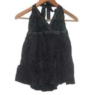 MNG Black Bare Back Halterneck Top