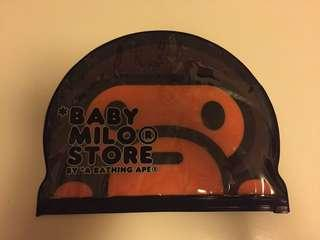 a bathing ape baby milo store zip-up plastic bag & travel tag