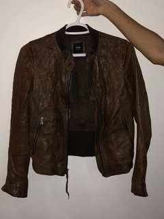 Gap Brown real Leather Jacket size XS