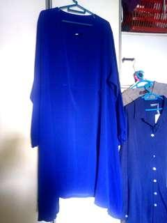 Plus sized electric blue dress with silt