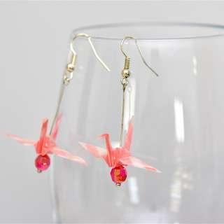 17 Beautiful origami paper crane earrings pink Japanese, striped stripy