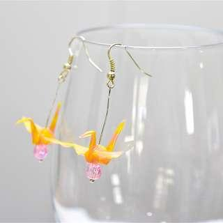 18 Beautiful origami paper crane earrings yellow pink Japanese, striped stripy