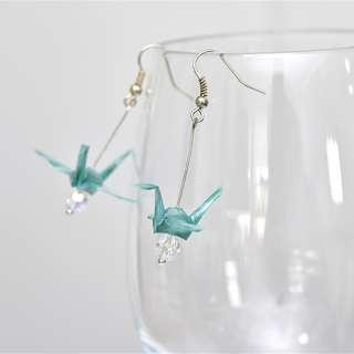 19 Beautiful origami paper crane earrings green Japanese, striped stripy candy