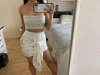 White summer skirt front tie