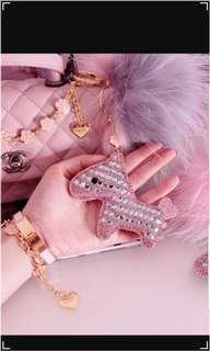 LindieSs Camellia Lucky Crystal Horse Bag Charm