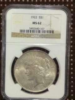 1922 S$1 America Silver 1Dollar Peace Coin USA Liberty 美國26.73g銀幣 和平銀元 自由女神頭像秃頭鷹有橄欖枝 和平鷹洋大銀幣 早期鷹元 NGC MS62 評級幣 ringo77511@yahoo.com