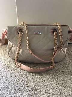 Cream & pink strapped bag