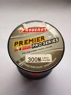 New - 20lb / 300m Premier PE4 Braided Line (RED)