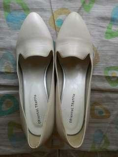 Cream White High Heels Ladies Shoes