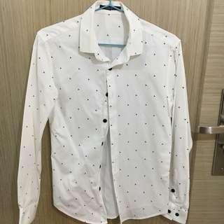 Casual 修身白色恤衫 shirt
