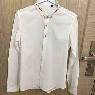 韓國免燙高貴白色裇衫 shirt