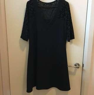 Black sleeved dress with sleeve mesh detail size 18