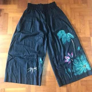 Black Nude Culottes with Chinese Painting