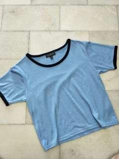 Topshop Blue Cropped Tee