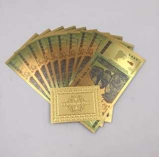 Zimbabwe One Hundred Trillion Dollars Banknote With 210 Certificates in 24k Gold