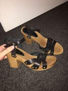 Black/wooden heels