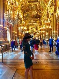 Paris lace dress ink dark green one piece