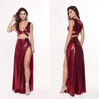 Red Sequin Two-Piece Set