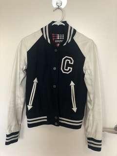 Blue and white bomber jacket