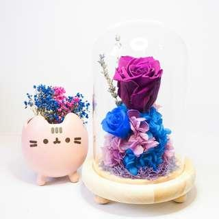 Purple Preserved Rose Dome - Brave
