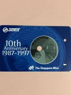 Limited edition SMRT 10th Anniversary 1987-1997 silver medallion plus collectible SMRT Ezlink card for sale .
