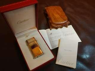 Cartier Platinum Plated Pinstripe Decor Lighter