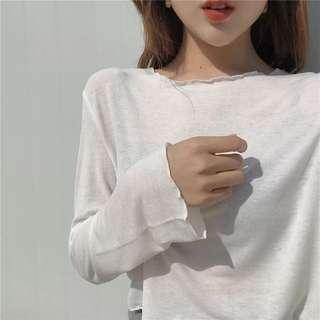 🚚 秋季白色薄透上衣
