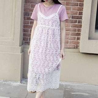🚚 夢幻不俗氣芋頭紫蕾絲2件組洋裝
