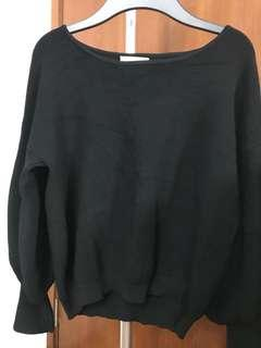Puff sleeve knit top (black)