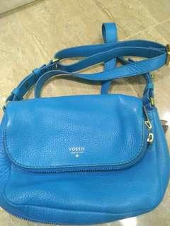 Fossil preston crossbody slingbag blue. Tas fossil original. Preloved