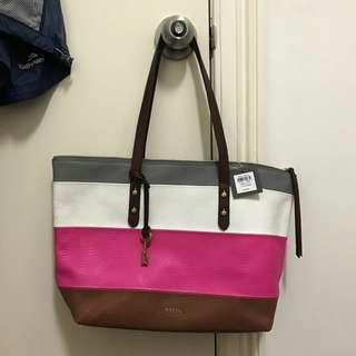Fossil jenna tote pink stripe with key - new Original - kulit asli