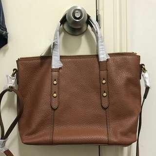 Fossil Jenna Satchel Medium Brown. tas fossil original. Kulit asli