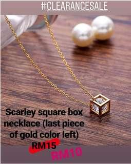 Square box crystal necklace