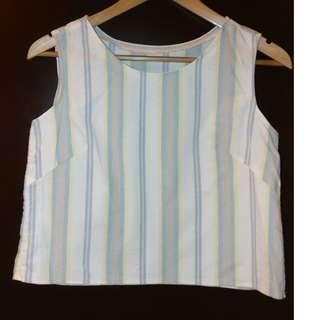 Striped cotton sleeveless blouse top 白色雪紡背心