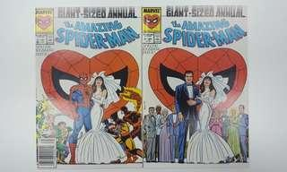 Amazing Spider-Man Annual #21 (1987, 1st Series) Set of 2-Direct & News-stand Editions, The Very 1ST-EVER Printed Paired Variant Issues of MARVEL! (THE WEDDING ISSUE!!) So Darn Hot Its On Fire!!