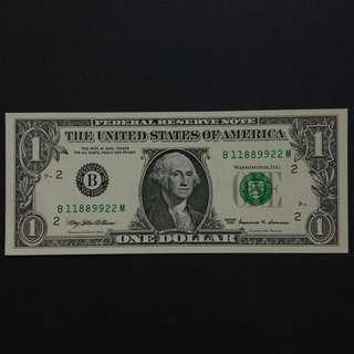 1999年 全新靚冧巴美金$1美元紙幣(B1188)
