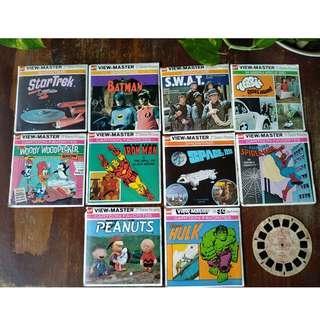 Vintage ViewMaster Reels.  Spiderman/Hulk/Peanuts/Batman/Ironman/SWAT/Star Trek/Herbie/Space 1999/Woody Woodpecker
