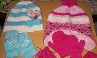 Bonnet and gloves set for toddler