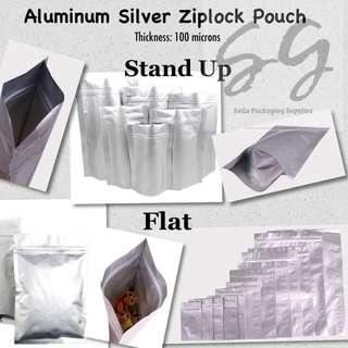 Aluminum Silver Ziplock Pouch in Stand Up or Flat