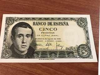 Spain 1951 5 Pesetas UNC