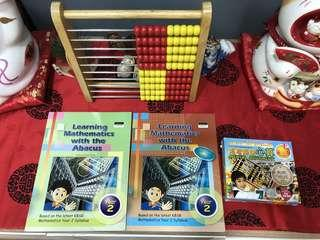 Japanese abacus, mental arithmetic cds and exercise books x 2