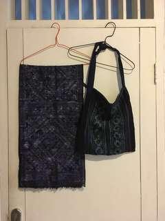 Authentic Table Cloth + Bag from Sapa / Authentic Collection / Taplak meja dan tas asli buatan Sapa / Local Hand-made from Sapa Village