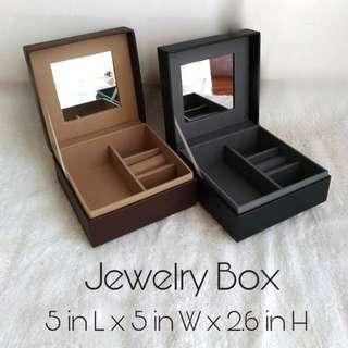 Square Faux Leather Jewelry Box