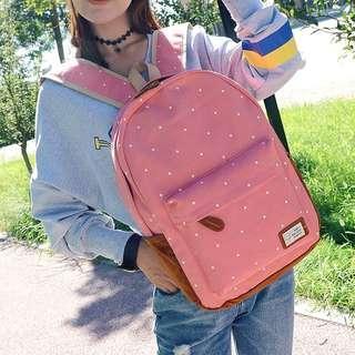 (Sales) Girl's Polka Dot Pink Big School Bag Backpack