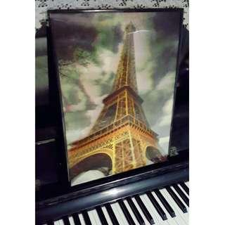 3 D Eiffel Tower Framed Print