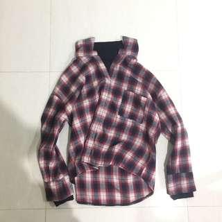 Ulzzang Turtle Neck Checkered Top