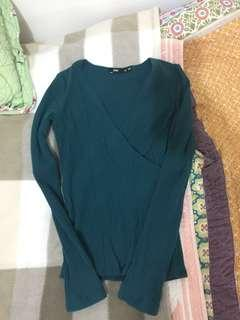 Dark Green Teal V Neck Knit Longsleeve Top